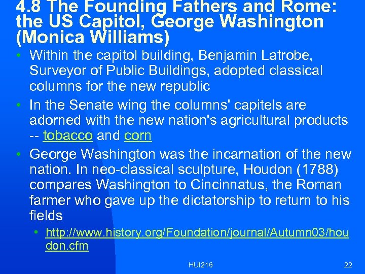 4. 8 The Founding Fathers and Rome: the US Capitol, George Washington (Monica Williams)