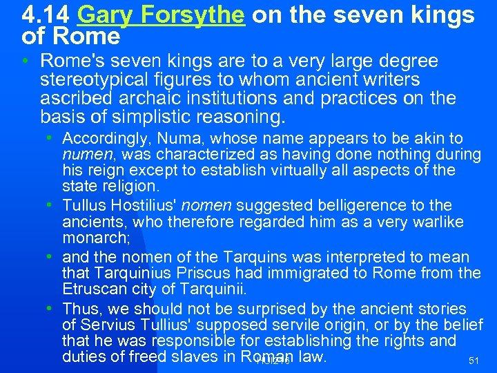 4. 14 Gary Forsythe on the seven kings of Rome • Rome's seven kings