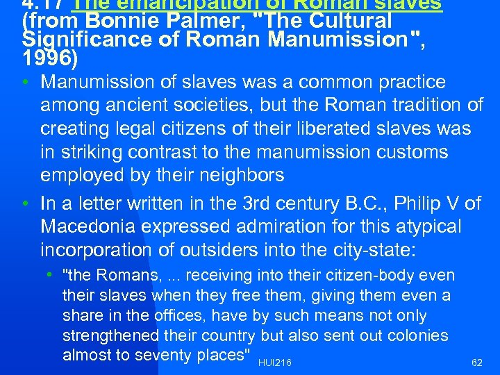 4. 17 The emancipation of Roman slaves (from Bonnie Palmer,