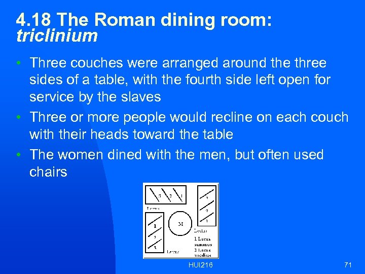 4. 18 The Roman dining room: triclinium • Three couches were arranged around the