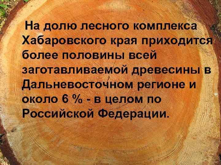 На долю лесного комплекса Хабаровского края приходится более половины всей заготавливаемой древесины в