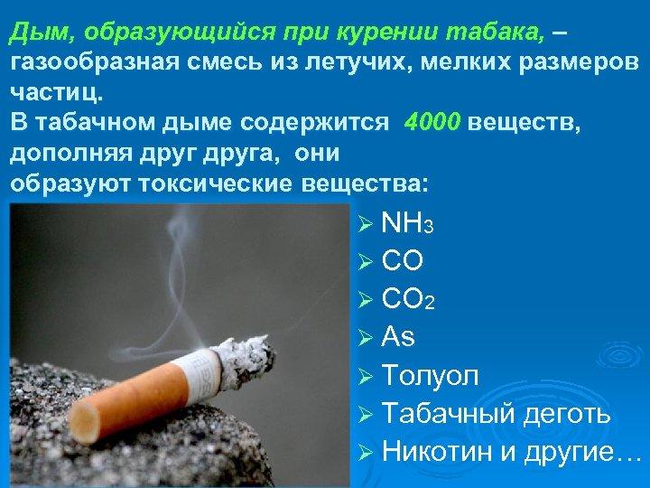 Дым, образующийся при курении табака, – газообразная смесь из летучих, мелких размеров частиц. В