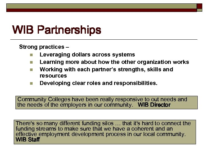 WIB Partnerships Strong practices – n Leveraging dollars across systems n Learning more about