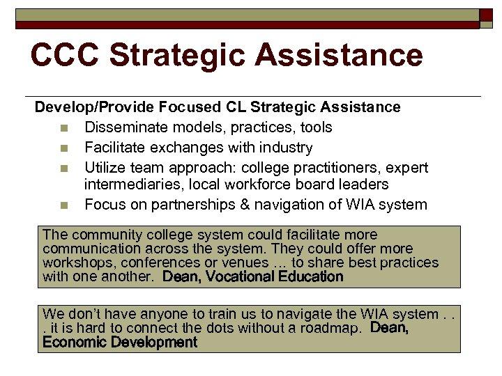 CCC Strategic Assistance Develop/Provide Focused CL Strategic Assistance n Disseminate models, practices, tools n