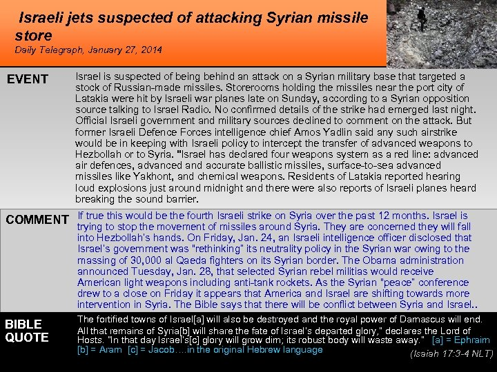 Israeli jets suspected of attacking Syrian missile store Daily Telegraph, January 27, 2014 EVENT