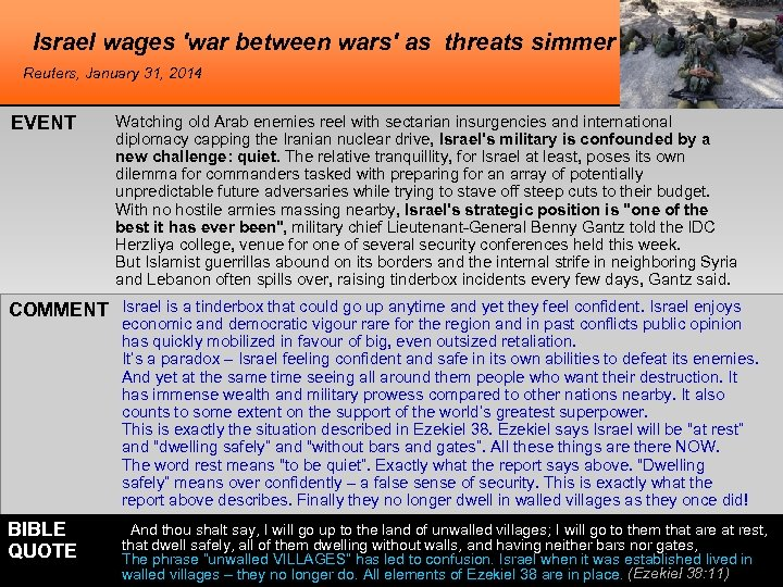 Israel wages 'war between wars' as threats simmer Reuters, January 31, 2014 EVENT Watching
