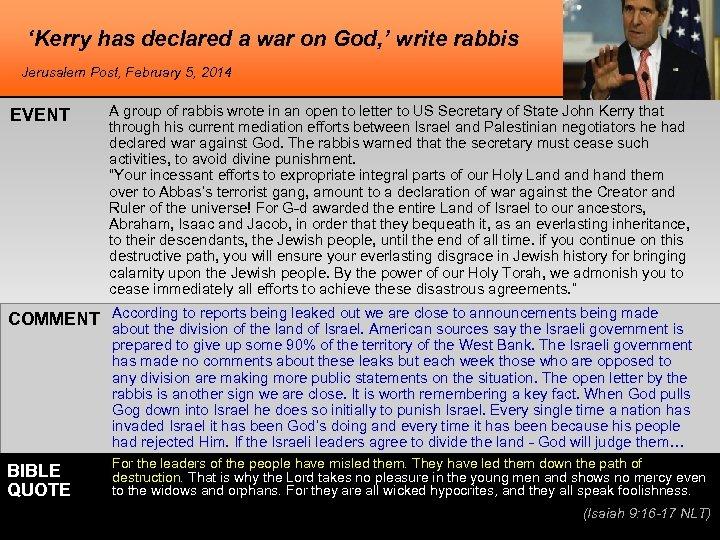 'Kerry has declared a war on God, ' write rabbis Jerusalem Post, February 5,