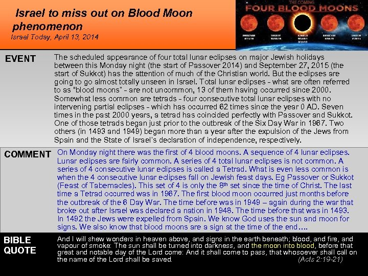 Israel to miss out on Blood Moon phenomenon Israel Today, April 13, 2014 EVENT