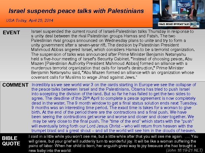 Israel suspends peace talks with Palestinians USA Today, April 25, 2014 EVENT Israel suspended