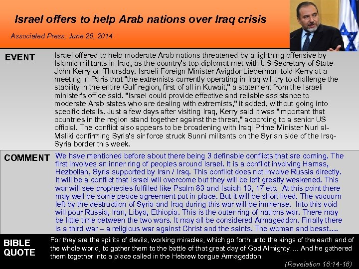 Israel offers to help Arab nations over Iraq crisis Associated Press, June 26, 2014