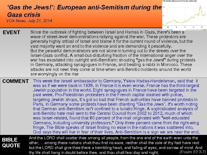 'Gas the Jews!': European anti-Semitism during the Gaza crisis VOX News, July 21, 2014