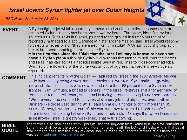Israel downs Syrian fighter jet over Golan Heights BBC News, September 23, 2014 EVENT