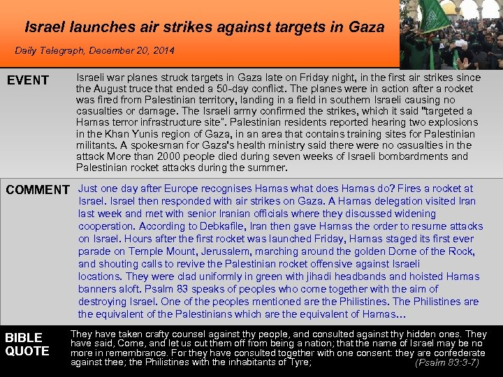 Israel launches air strikes against targets in Gaza Daily Telegraph, December 20, 2014 EVENT