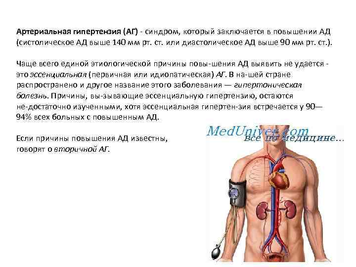 Артериальная гипертензия (АГ) синдром, который заключается в повышении АД (систолическое АД выше 140 мм