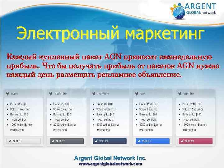 Электронный маркетинг Каждый купленный пакет AGN приносит еженедельную прибыль. Что бы получать прибыль от