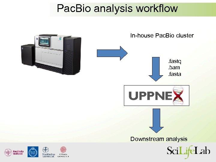 Pac. Bio analysis workflow In-house Pac. Bio cluster . fastq. bam. fasta Downstream analysis