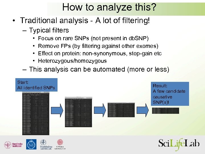 How to analyze this? • Traditional analysis - A lot of filtering! – Typical