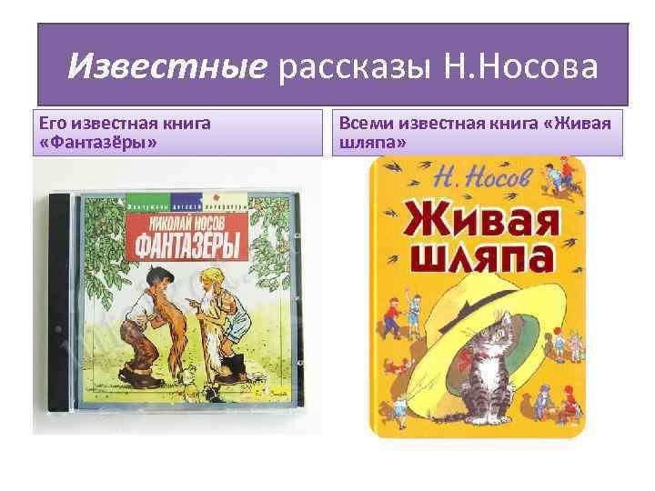Известные рассказы Н. Носова Его известная книга «Фантазёры» Всеми известная книга «Живая шляпа»