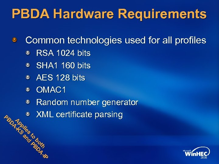 PBDA Hardware Requirements Common technologies used for all profiles P P h AI tth