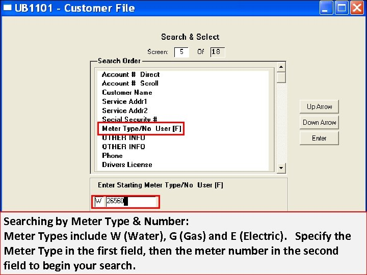Searching by Meter Type & Number: Meter Types include W (Water), G (Gas) and