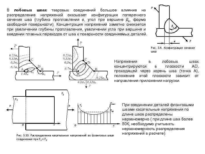 В лобовых швах тавровых соединений большое влияние на распределение напряжений оказывает конфигурация поперечного сечения