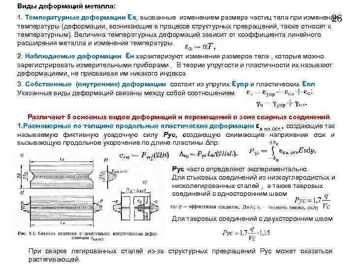 Виды деформаций металла: 1. Температурные деформации εα, вызванные изменением размера частиц тела при изменении
