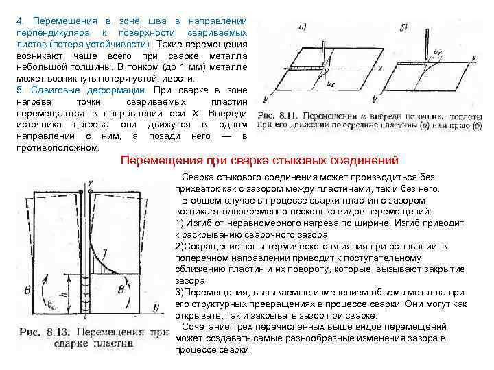 4. Перемещения в зоне шва в направлении перпендикуляра к поверхности свариваемых листов (потеря устойчивости).