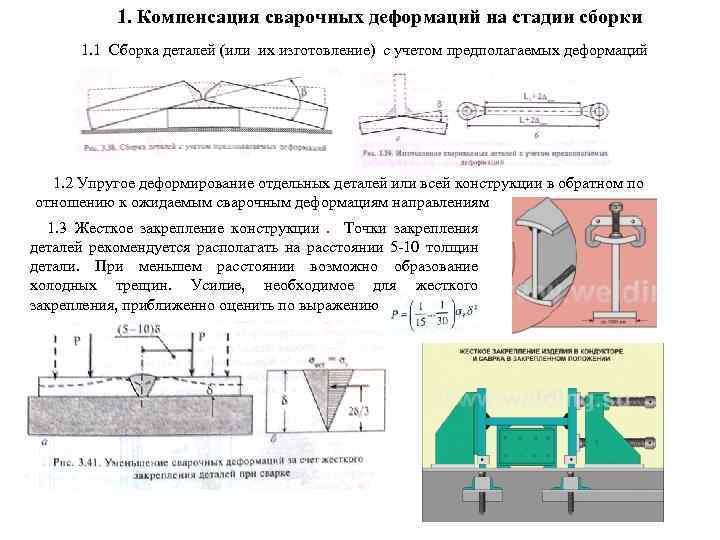 1. Компенсация сварочных деформаций на стадии сборки 1. 1 Сборка деталей (или их изготовление)