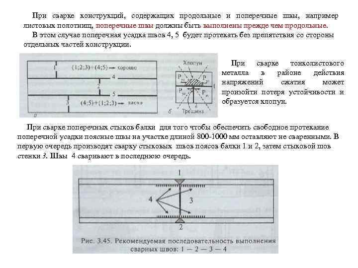 При сварке конструкций, содержащих продольные и поперечные швы, например листовых полотнищ, поперечные швы должны