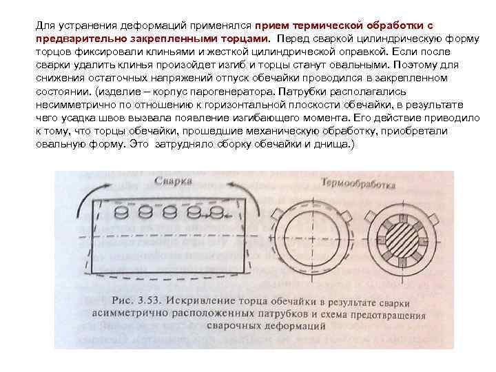 Для устранения деформаций применялся прием термической обработки с предварительно закрепленными торцами. Перед сваркой цилиндрическую
