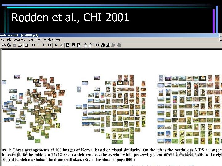 Rodden et al. , CHI 2001 M. Hearst Faceted Metadata in Search