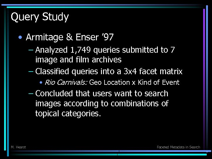 Query Study • Armitage & Enser ' 97 – Analyzed 1, 749 queries submitted