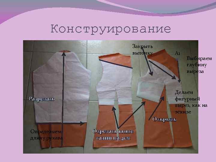Конструирование Закрыть выточку Выбираем глубину выреза Делаем фигурный вырез, как на эскизе Открыть Разрезать