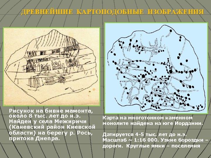 ДРЕВНЕЙШИЕ КАРТОПОДОБНЫЕ ИЗОБРАЖЕНИЯ Рисунок на бивне мамонта, около 8 тыс. лет до н. э.
