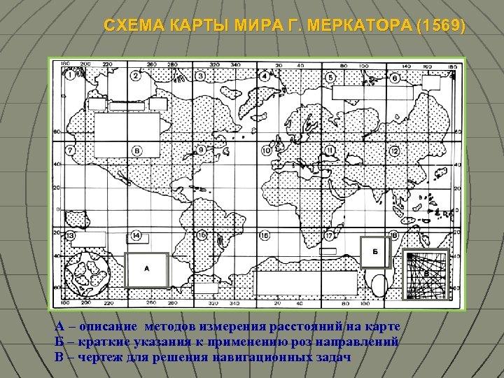 СХЕМА КАРТЫ МИРА Г. МЕРКАТОРА (1569) А – описание методов измерения расстояний на карте