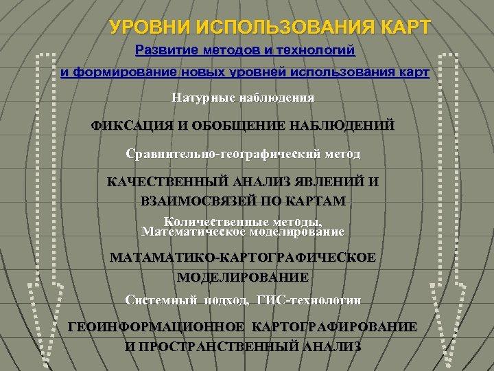 УРОВНИ ИСПОЛЬЗОВАНИЯ КАРТ Развитие методов и технологий и формирование новых уровней использования карт Натурные