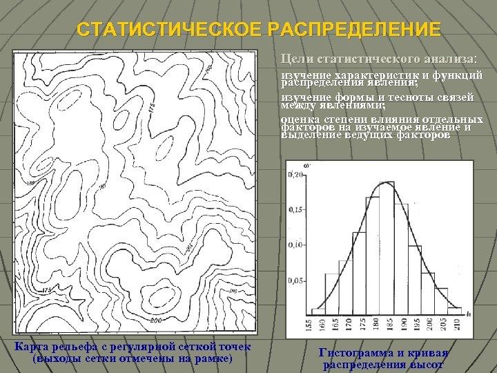 СТАТИСТИЧЕСКОЕ РАСПРЕДЕЛЕНИЕ Цели статистического анализа: изучение характеристик и функций распределения явления; изучение формы и