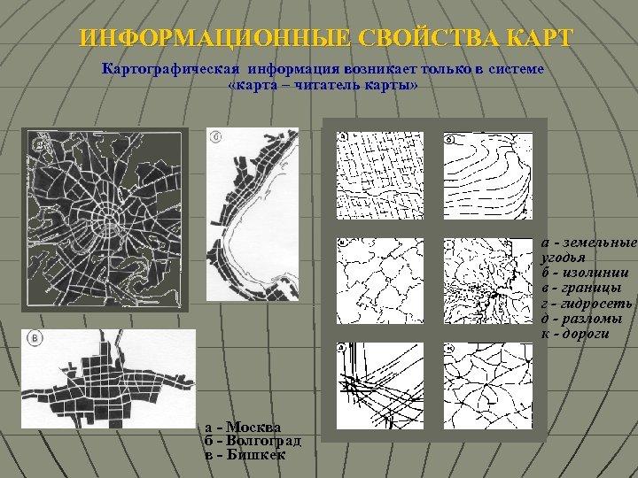 ИНФОРМАЦИОННЫЕ СВОЙСТВА КАРТ Картографическая информация возникает только в системе «карта – читатель карты» а