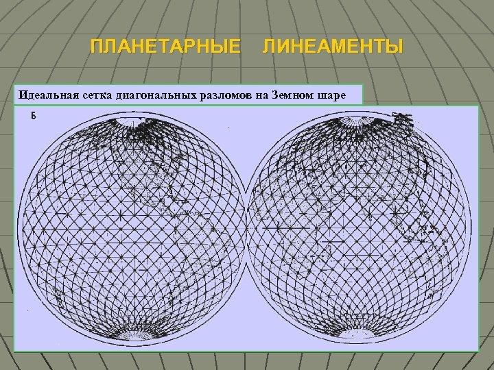 ПЛАНЕТАРНЫЕ ЛИНЕАМЕНТЫ Идеальная сетка диагональных разломов на Земном шаре Линеаменты на Земном шаре