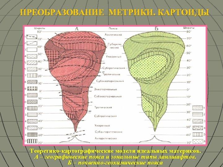 ПРЕОБРАЗОВАНИЕ МЕТРИКИ. КАРТОИДЫ Теоретико-картографические модели идеальных материков. А – географические пояса и зональные типы