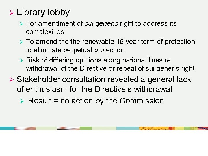 Ø Library lobby For amendment of sui generis right to address its complexities Ø