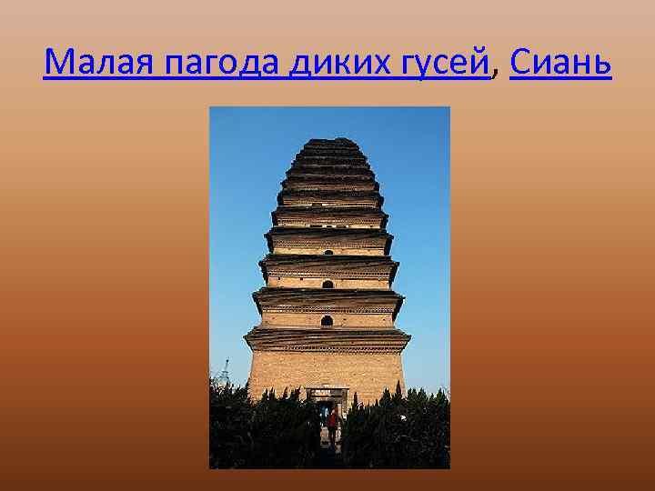 Малая пагода диких гусей, Сиань