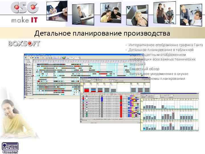 Детальное планирование производства - Интерактивное отображение графика Ганта - Детальное планирование в табличной форме