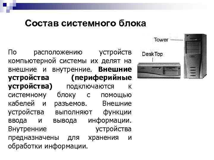 Состав системного блока По расположению устройств компьютерной системы их делят на внешние и внутренние.