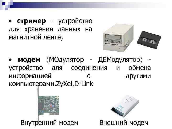 • стример - устройство для хранения данных на магнитной ленте; • модем (МОдулятор