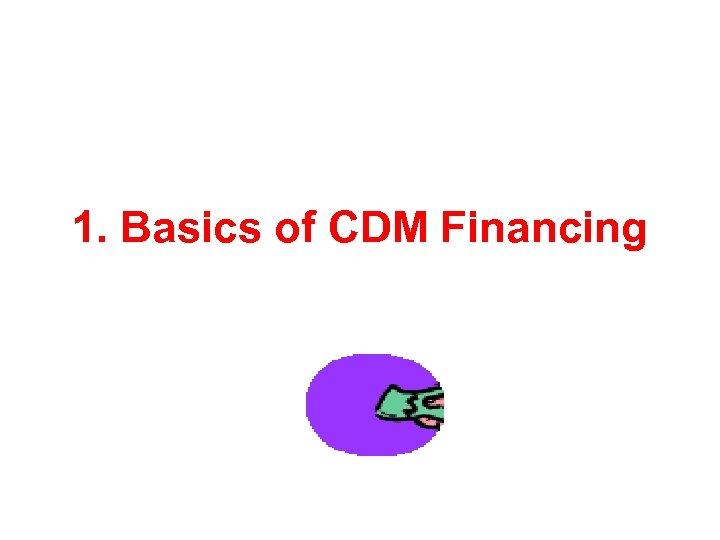 1. Basics of CDM Financing