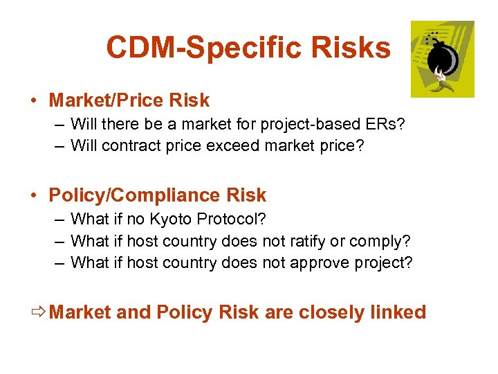 CDM-Specific Risks • Market/Price Risk – Will there be a market for project-based ERs?
