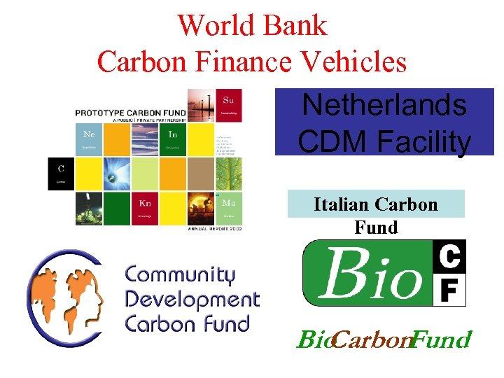 World Bank Carbon Finance Vehicles Netherlands CDM Facility Italian Carbon Fund Bio Carbon Fund