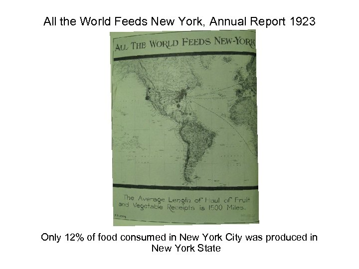 All the World Feeds New York, Annual Report 1923 Only 12% of food consumed