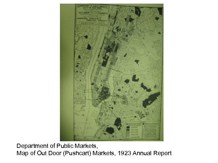 Department of Public Markets, Map of Out Door (Pushcart) Markets, 1923 Annual Report